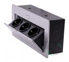 3 sockets insert box with pop up cover Aluminium