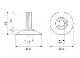 Plastic M10 screw adjustable leg White