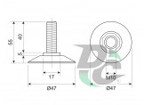 Plastic M10 screw adjustable leg Brown