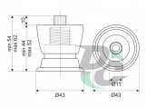 Adjustable plastic furniture leg DPN 01G5 / P9 Matte Nickel (Satin) / Black DC