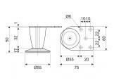 Furniture leg DZ 055/50 G2 Chrome H-50mm conic DC