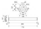 Table leg H-710 mm 60x60 mm Chrome DC StandardLine