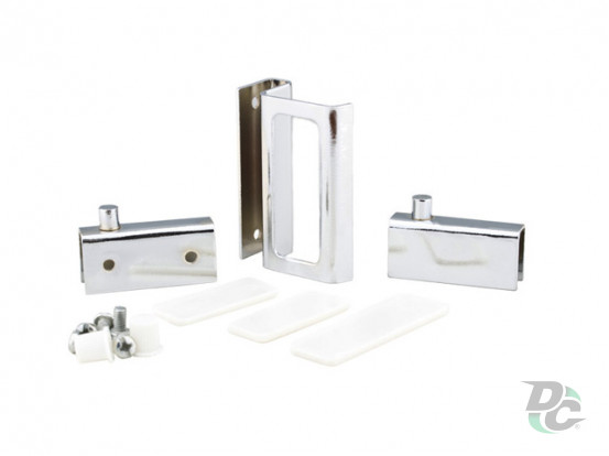 Set for glass ZS 90 DC G2: two hinges + handle Chrome DC