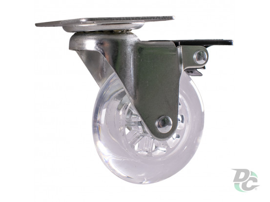 Castor d-75 mm polyurethane with plate and brake DC