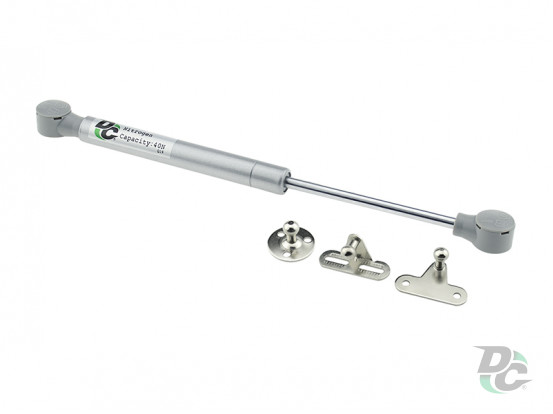 Gas spring for chipboard 40N convenient installation, 3 fasteners, grey DC PremiumLine