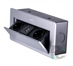 2 sockets and 2 USB insert box with pop up cover Aluminium