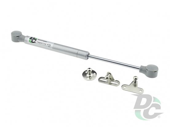 Gas spring for chipboard 60N convenient installation, 3 fasteners, grey DC PremiumLine