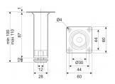 Adjustable furniture leg NL 05/100 G2 Chrome D-30mm DC OptimaLine