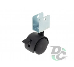 Plastic castor with plate and brake D-40mm  with U-fitting Black DC