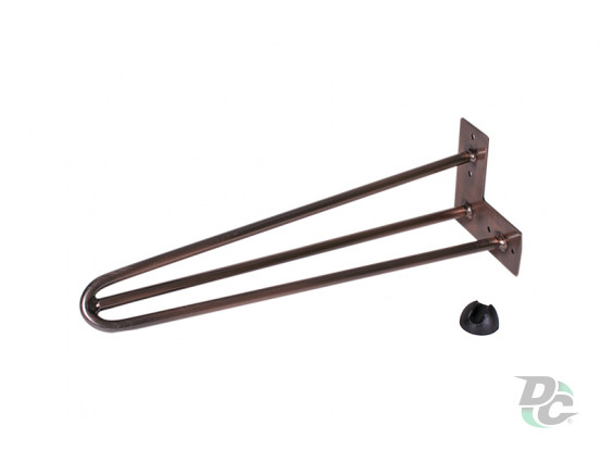 Hairpin table leg H-400 with protector feet CopperDC StandardLine