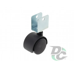 Plastic castor with U-shaped fitting D-40mm Black DC