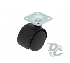 Plastic castor with plate D-40mm Black  DC
