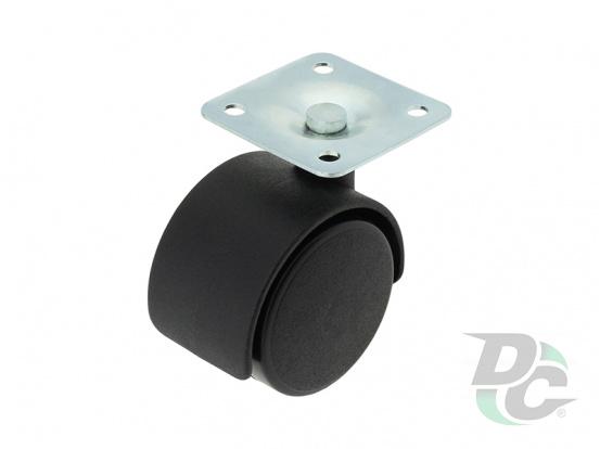 Plastic castor with plate D-40mm Black  DC