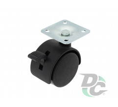 Plastic castor with plate and brake D-40mm Black DC