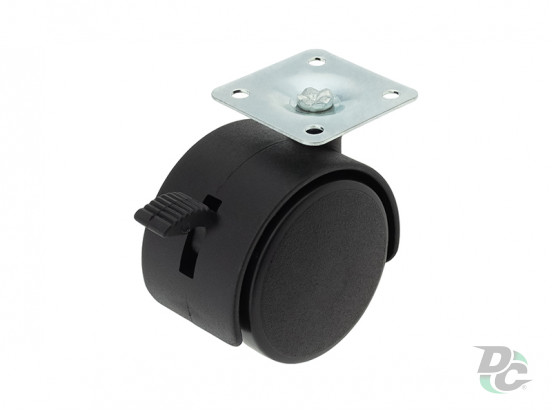 Plastic castor with plate and brake D-50mm Black DC