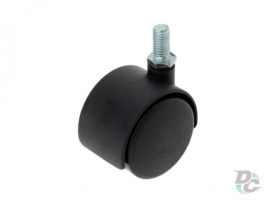 Plastic castor with pin D-40mm Black DC