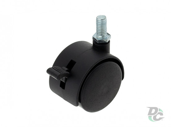 Plastic castor with pin and brake D-40mm Black DC
