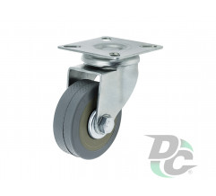 Rubber castor with plate D-50mm Gray DC