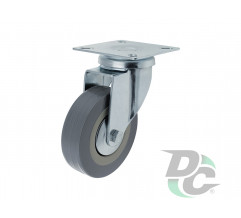 Rubber castor with plate D-75mm Gray DC