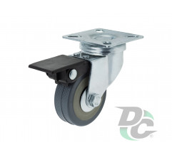 Rubber castor with plate and brake D-50mm Gray DC