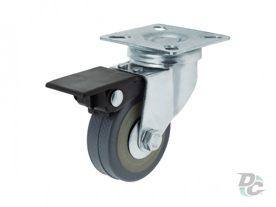Rubber castor with plate and brake D-50mm Grey DC