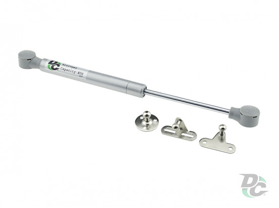 Gas spring for chipboard 80N convenient installation, 3 fasteners, grey DC PremiumLine