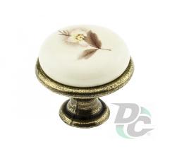 Furniture handle DC DG 197 G4 old bronze/MLK7 beige flower (OL)