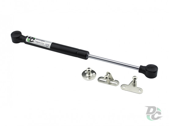 Gas spring for chipboard 120N convenient installation, 3 fasteners, black DC PremiumLine
