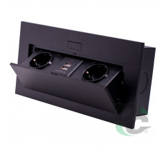 2 sockets and 2 USB insert box with pop up cover Black