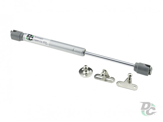 Gas spring for chipboard 80N copper ring, 3 fasteners GSX, grey DC PremiumLine