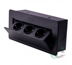 3 sockets insert box with pop up cover Black